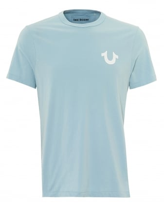 Mens Back Gold Buddha T-Shirt, Plain Front Pale Blue Tee