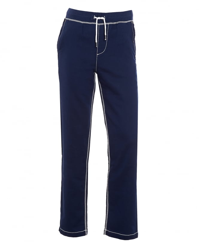 True Religion Jeans Mens Big T Contrast Stitch Navy Blue Trackpant