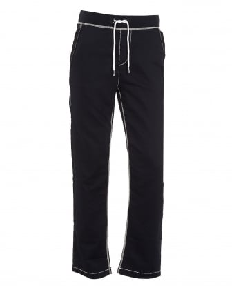 Mens Big T Contrast Stitch Navy Blue Trackpant