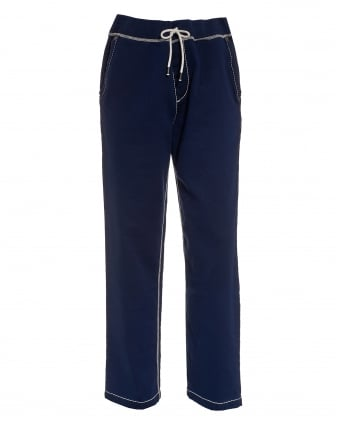 Mens Big T Contrast Stitching Navy Blue Trackpants