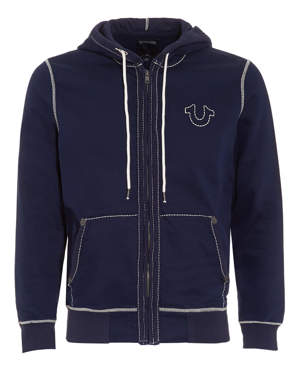 true religion jeans mens big t zip through hoodie navy blue tracktop. Black Bedroom Furniture Sets. Home Design Ideas
