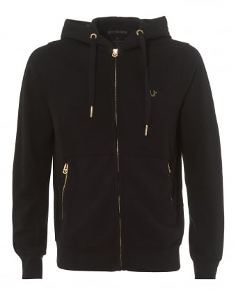 Mens Black Fleece Gold Horseshoe Logo Zip Hoodie