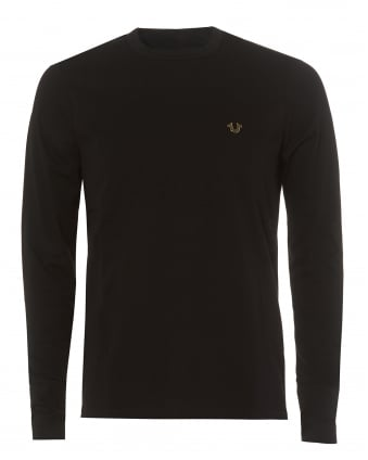 Mens Black Long Sleeved Cuffed Metal Horseshoe Logo Tee