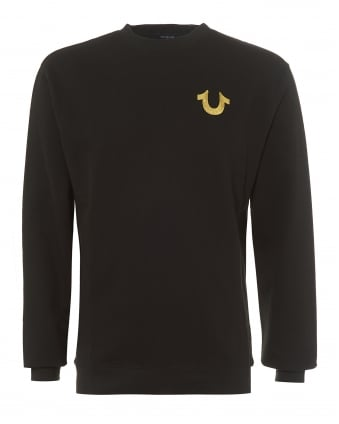 Mens Black Sweatshirt, Metallic Gold Logo Graphic Jumper