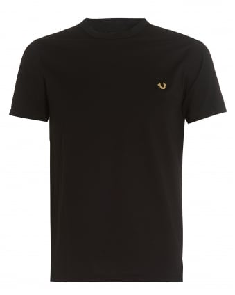 Mens Black T-Shirt, Slim-Fit Metal Horseshoe Logo Badge Tee