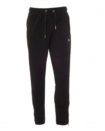 Mens Black Trackpants, Cuffed Gold Metal Horseshoe Logo Sweatpants