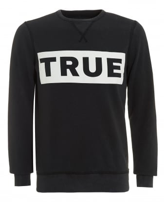 Mens Block Logo Sweatshirt, Crew Neck Washed Black Jumper