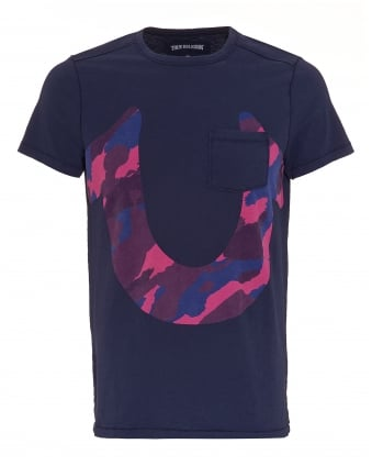 Mens Cammo Horseshoe T-Shirt, Logo Rugby Blue Tee