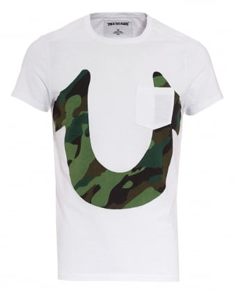 Mens Cammo Horseshoe T-Shirt, Logo White Tee