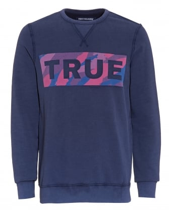 Mens Camo True Logo Sweatshirt, Rubgy Blue Jumper