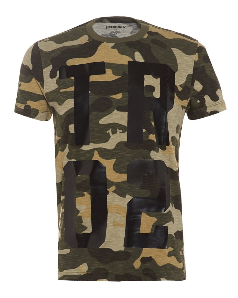 True religion jeans mens camouflage t shirt camo print logo for Camouflage t shirt printing