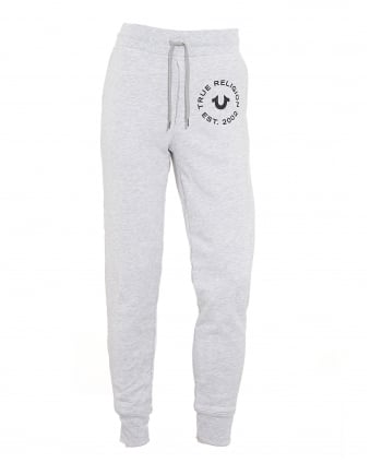 Mens Contrast Logo Cuffed Grey Trackpant