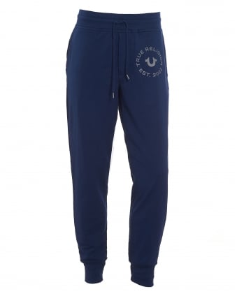 Mens Contrast Logo Cuffed Navy Blue Trackpant