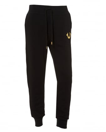 Mens Cuffed Trackpants, Gold Logo Black Sweatpants