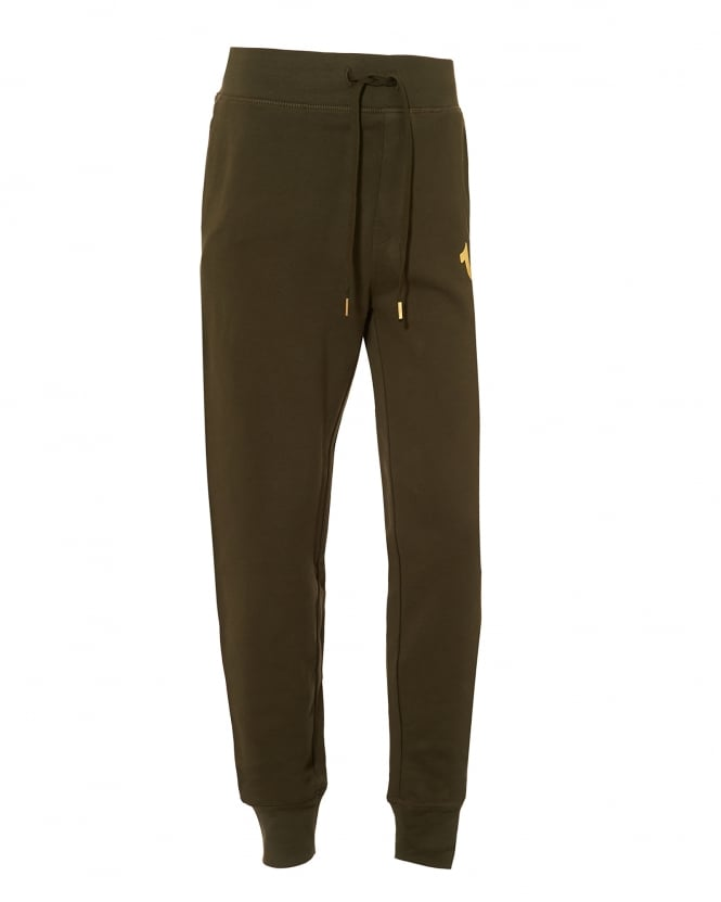 True Religion Jeans Mens Cuffed Trackpants, Gold Logo Military Green Sweatpants