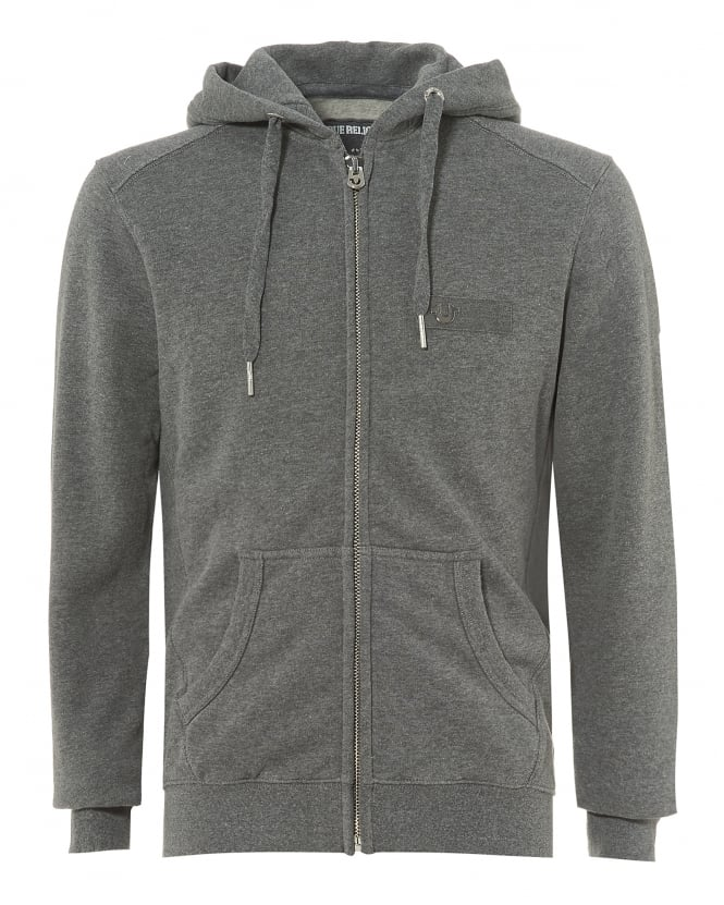 True Religion Jeans Mens Dark Grey Zip Hoodie, Metal Horseshoe Logo Badge Zip Sweater