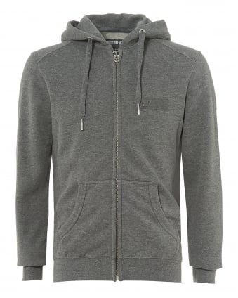 Mens Dark Grey Zip Hoodie, Metal Horseshoe Logo Badge Zip Sweater