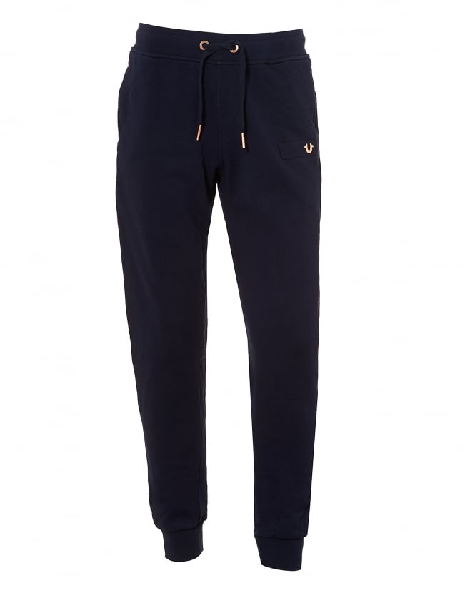 True Religion Jeans Mens Drawstring Trackpants, Horseshoe Logo Navy Blue Sweatpants