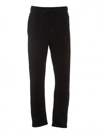 Mens Dripping Horseshoe Track Pants, Black Cuffed Sweatpants