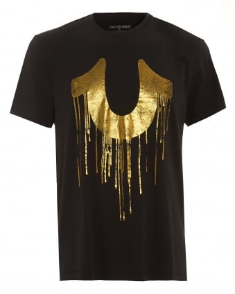 Mens Dripping T-Shirt, Metallic Horseshoe Black Tee