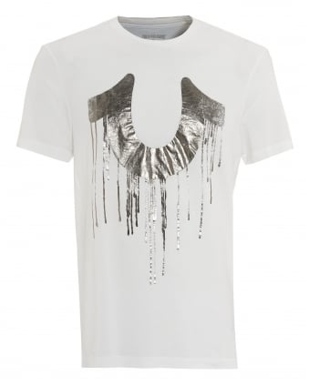 Mens Dripping T-Shirt, Metallic Horseshoe White Tee