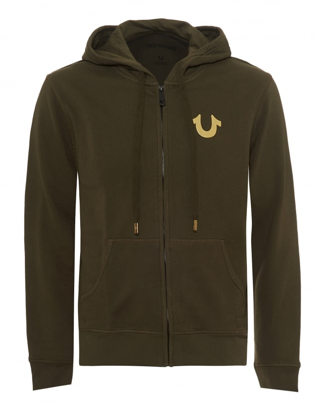 True Religion Jeans Mens Gold Foil Buddha Hoodie, Zip Up Khaki Green Sweatshirt