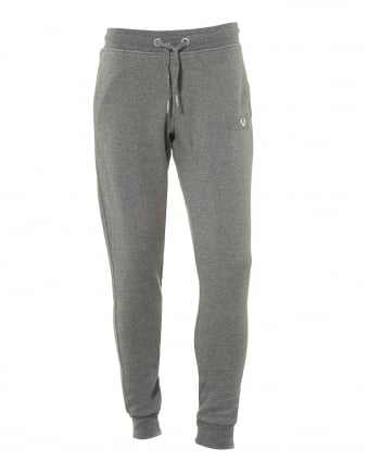 Mens Grey Trackpants, Metal Logo Horseshoe Badge Cuffed Sweatpants