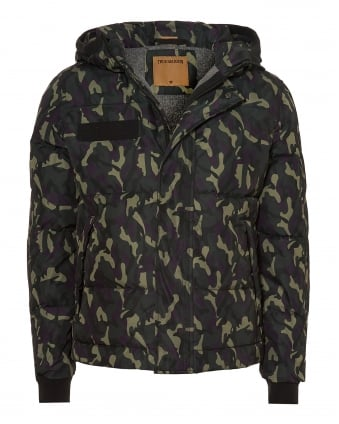 Mens Hooded Jacket, Down Filled Camo Coat