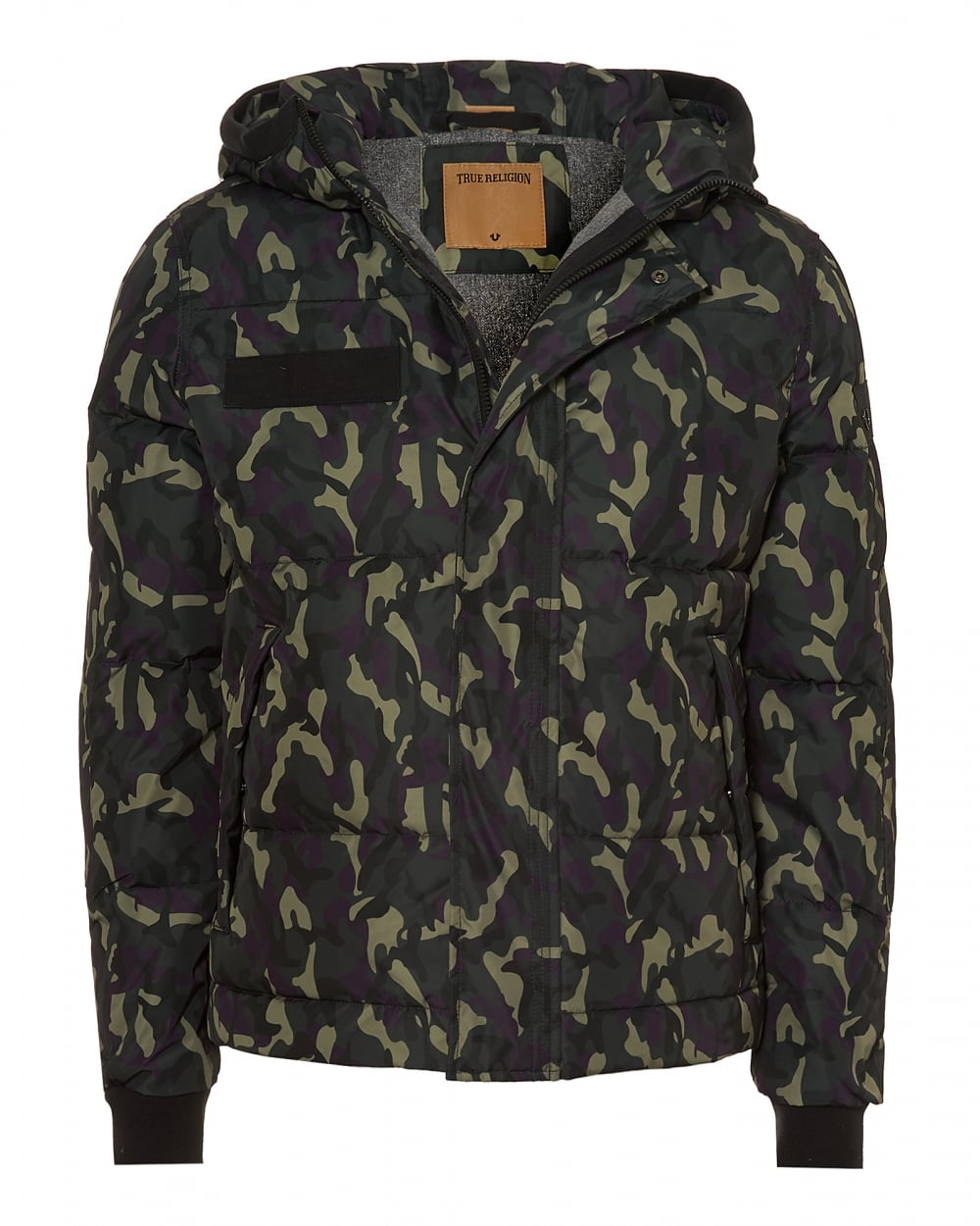true religion mens hooded jacket down filled camouflage coat. Black Bedroom Furniture Sets. Home Design Ideas