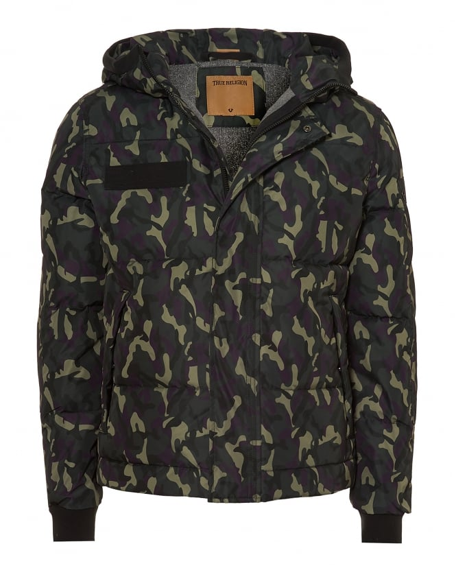 True Religion Jeans Mens Hooded Jacket, Down Filled Camouflage Coat