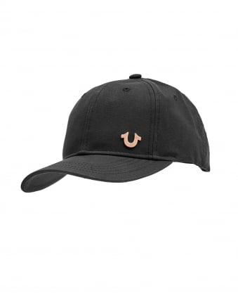 Mens Horseshoe Logo Cap, Black Hat