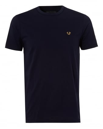 Mens Horseshoe Logo T-Shirt, Plain Navy Blue Tee
