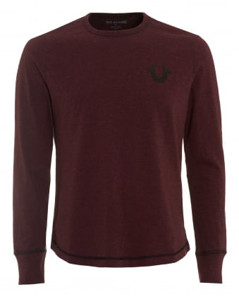 Mens Horseshoe T-Shirt, Long Sleeved Bordeaux Tee