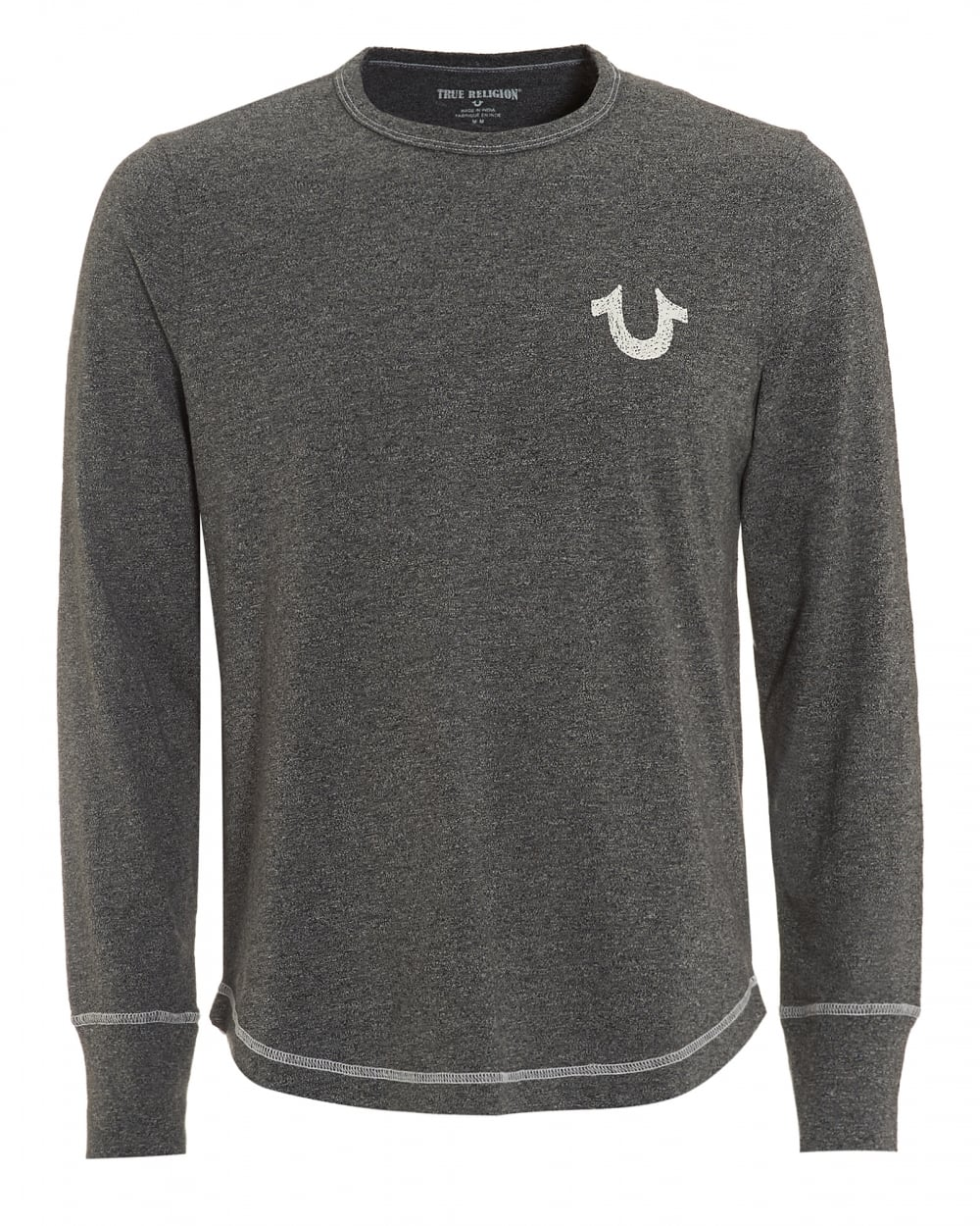 True religion jeans mens horseshoe long sleeved heather for Mens heather grey t shirt