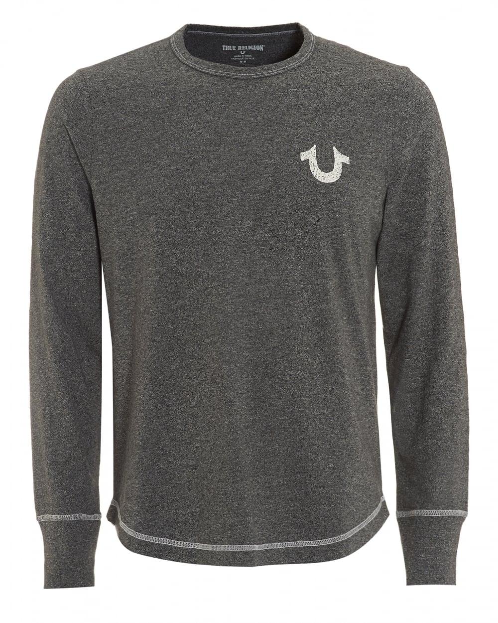 True religion jeans mens horseshoe long sleeved heather Mens heather grey t shirt