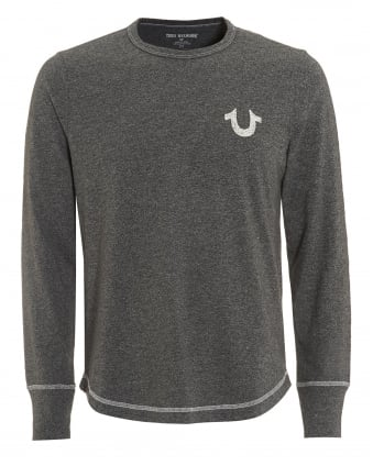 Mens Horseshoe T-Shirt, Long Sleeved Heather Grey Tee