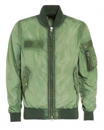 Mens Jacket, Overdyed Hedge Green Bomber Jacket