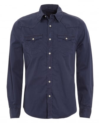 Mens Jake Western Style Slim Fit Navy Blue Shirt