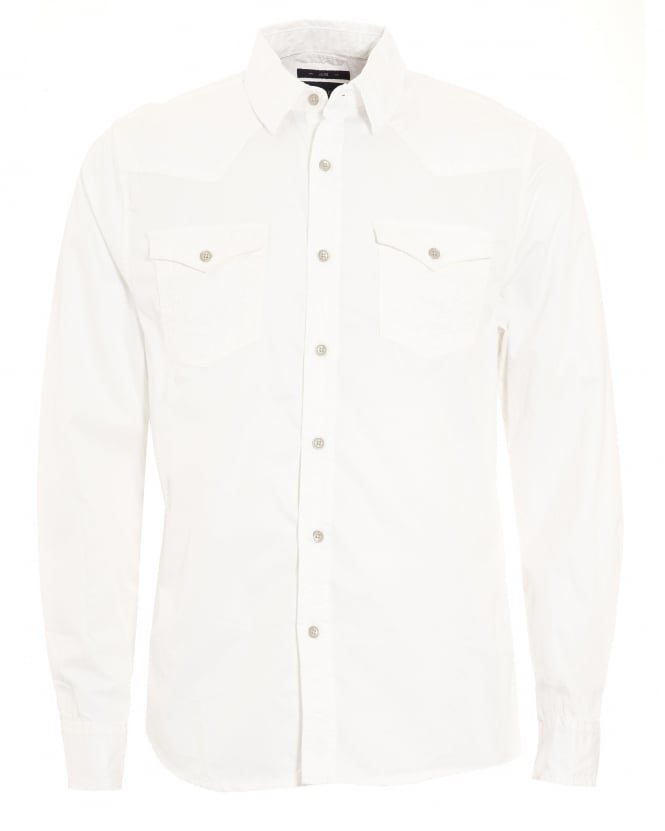 True Religion Jeans Mens Jake Western Style Slim Fit White Shirt