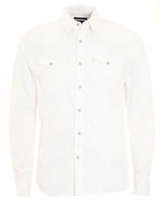 Mens Jake Western Style Slim Fit White Shirt