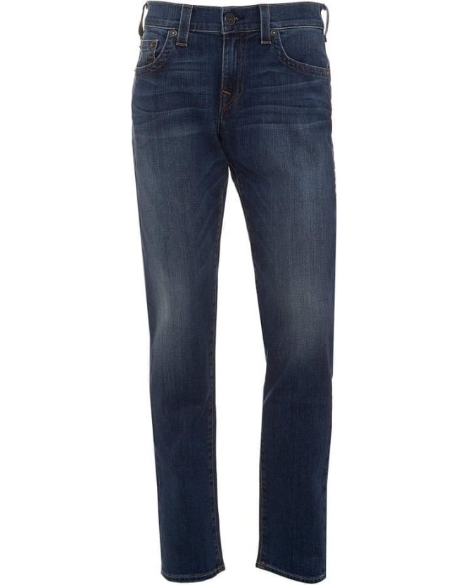 True Religion Jeans Mens Jeans Geno Tapered Leg Lake View Mid Whisker Jean