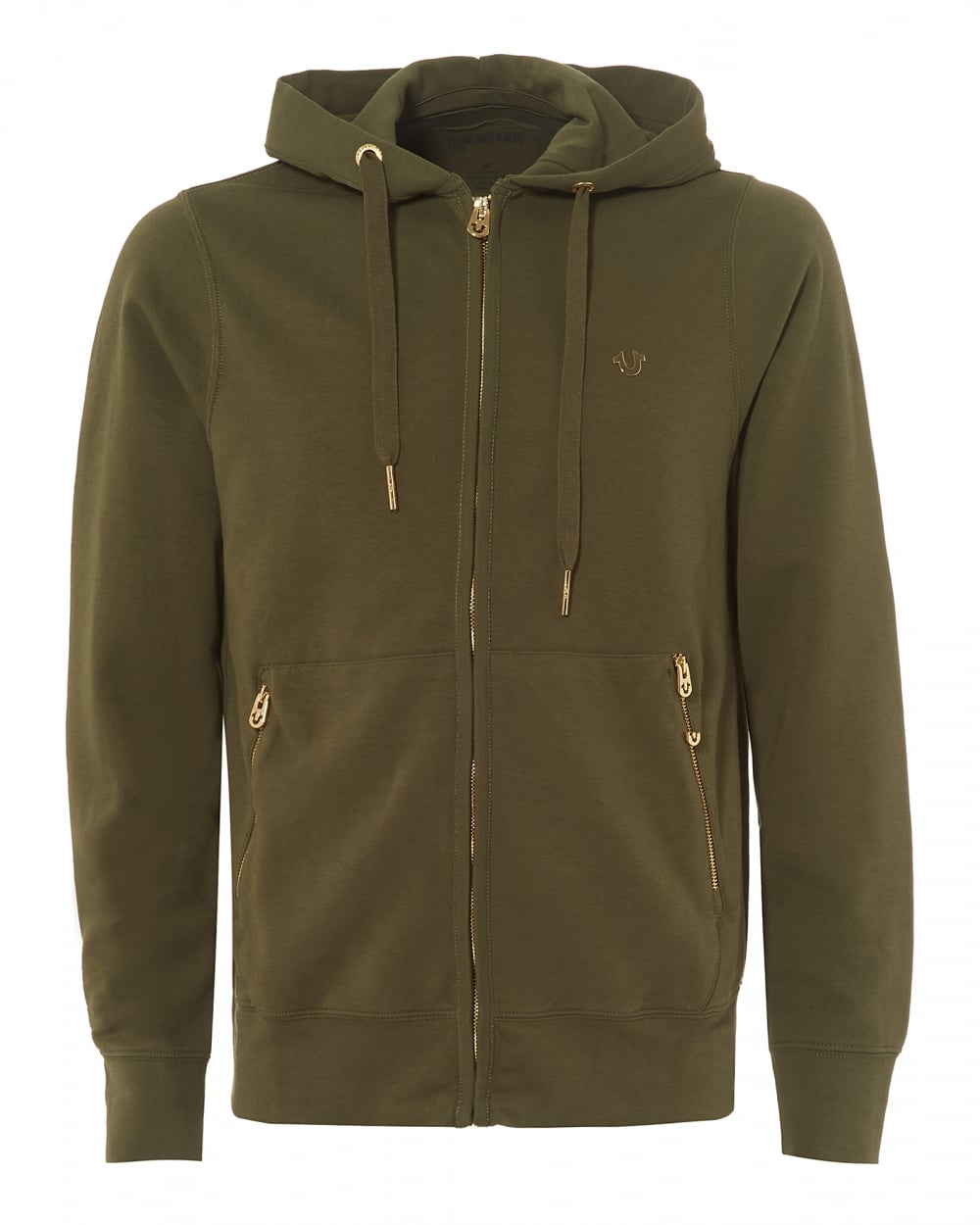 True Religion Mens Khaki Green Fleece Gold Horseshoe Logo Zip ... 99d8c4296