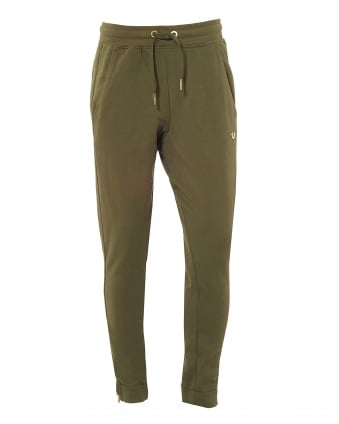 Mens Khaki Green Trackpants, Cuffed Gold Horseshoe Logo Sweatpants