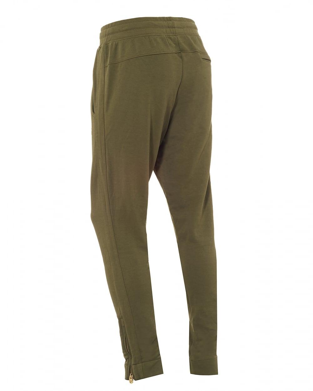 ca42176c34b557 Mens Khaki Green Trackpants, Cuffed Gold Horseshoe Logo Sweatpants