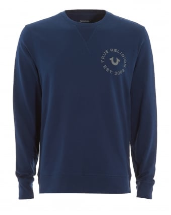 Mens Large Horseshoe Logo Navy Blue Sweatshirt