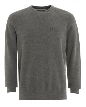 Mens Metal Horseshoe Sweatshirt, Fleece Anthracite Jumper