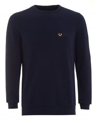Mens Metal Horseshoe Sweatshirt, Fleece Navy Blue Jumper