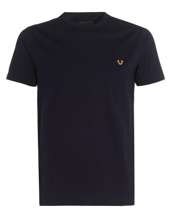 Mens Navy Blue T-Shirt, Slim-Fit Metal Horseshoe Logo Badge Tee