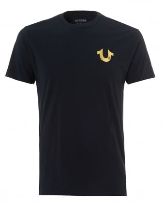 Mens Navy T-Shirt, Gold Foil Buddha Horseshoe Logo Graphic Tee