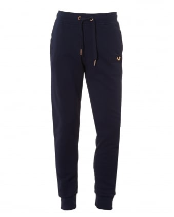 Mens Navy Trackpants, Metal Logo Horseshoe Badge Cuffed Sweatpants